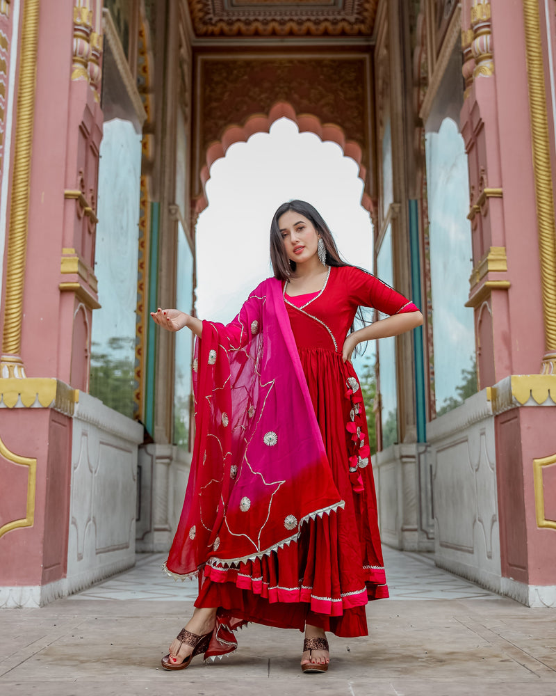 Maroon Pink Gotapatti Suit Set