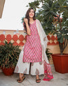 Ivory Gold Handpainting Dress with Dupatta