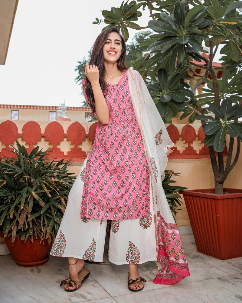 Pink Floral Handblock Cotton Suit