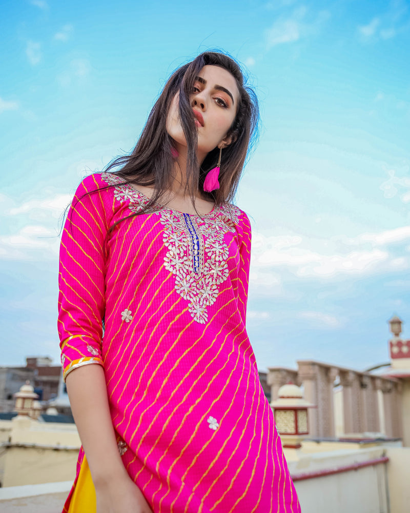 Pink & Yellow Ghaghra Kurti  Set