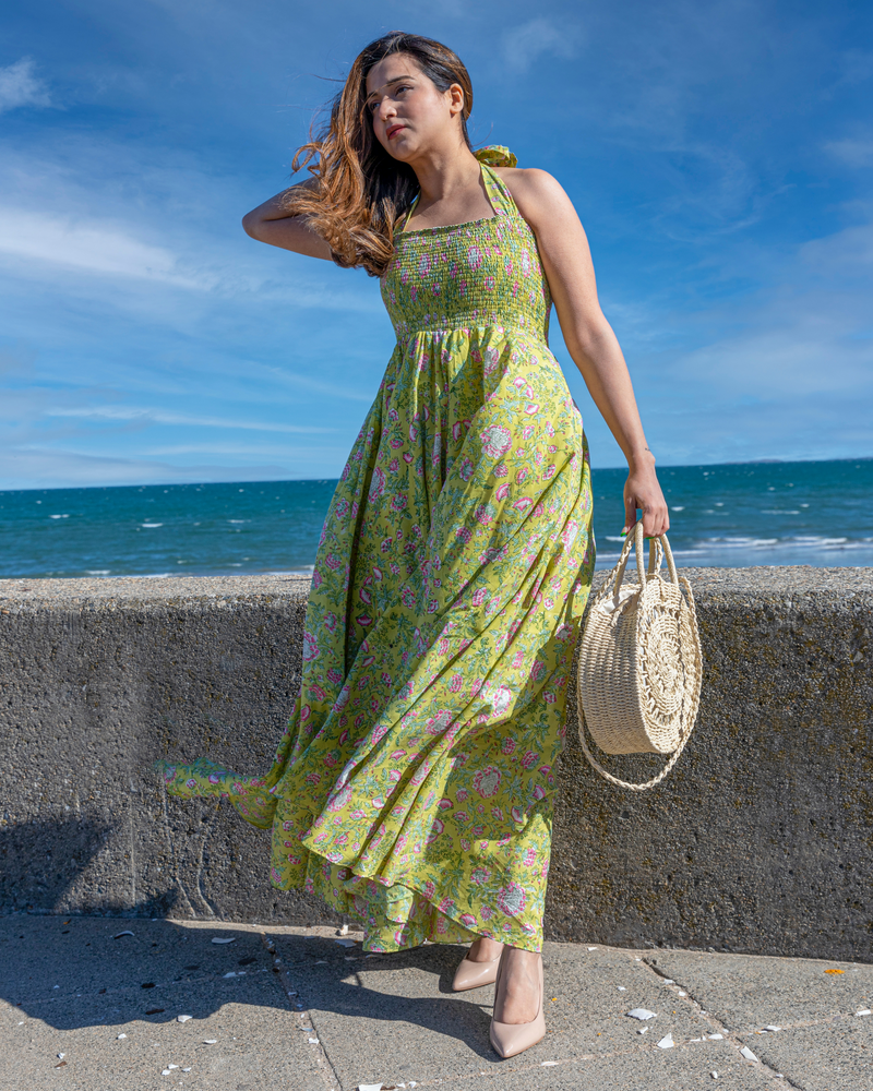 Seaweed Green Smocked Cotton Dress