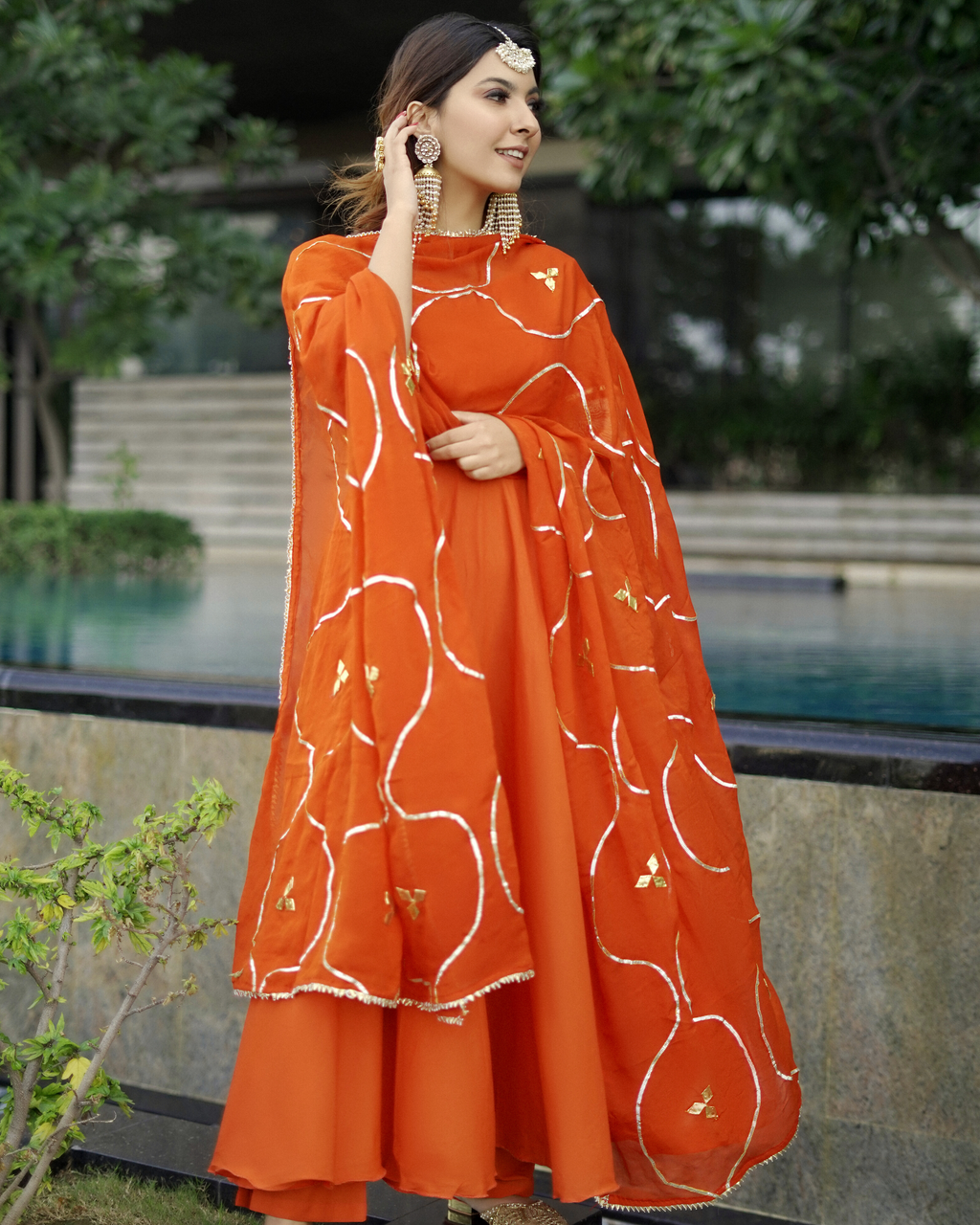 Orange Gotapatti Cotton Suit Set