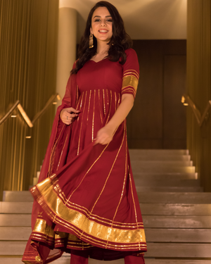 Berry Maroon Gotapatti Anarkali Set