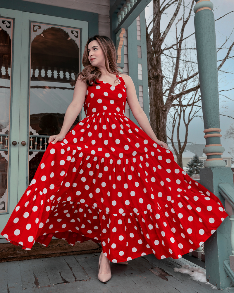 CURRANT RED POLKA COTTON DRESS