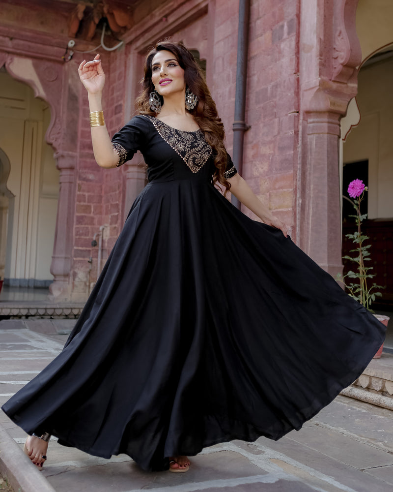 Black Metal Handblock Cotton Dresses Online