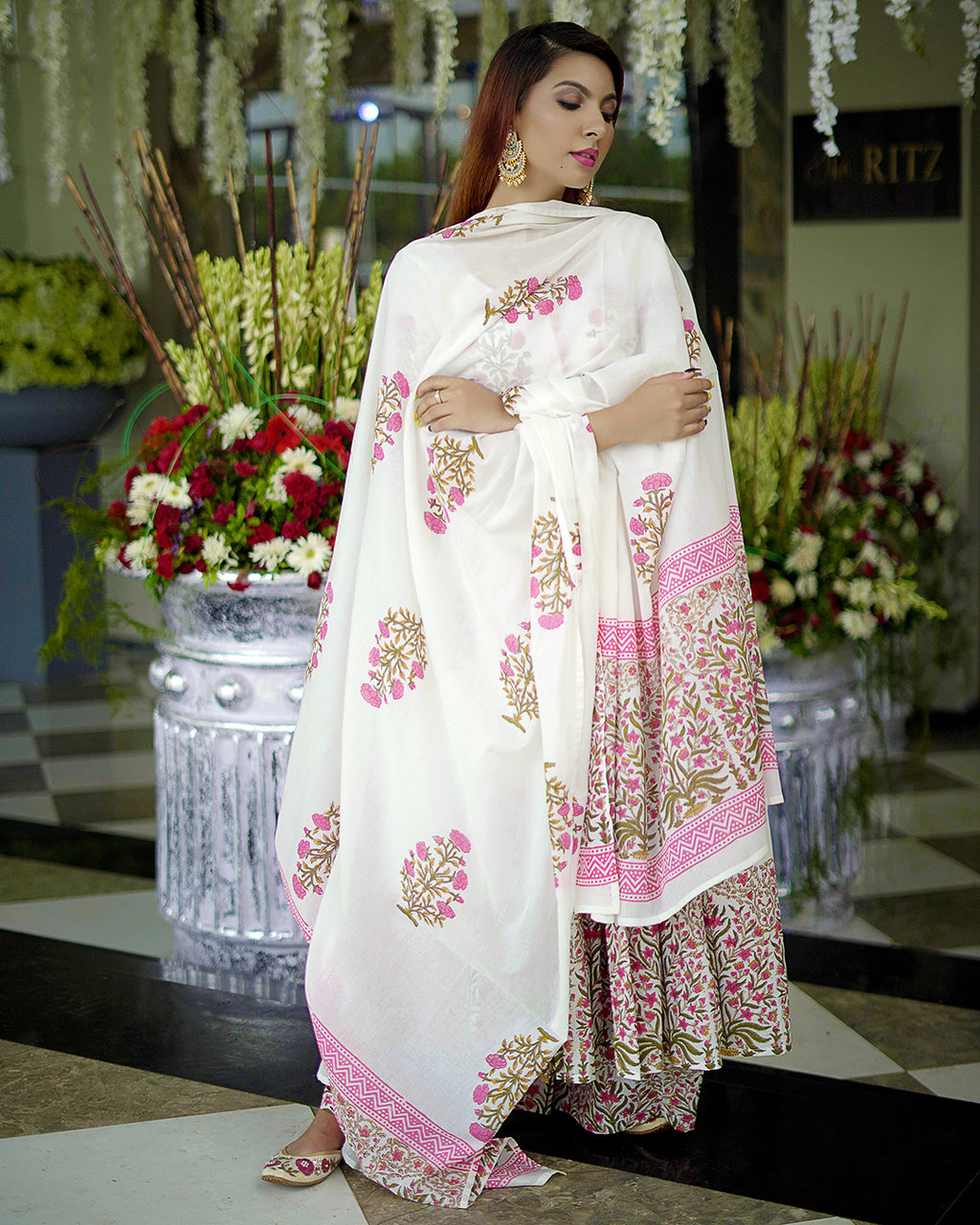 White Mehrab Hand Block Printed Suits Online