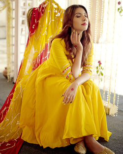Buy gota Patti Suits Set Online in Royal Yellow Color