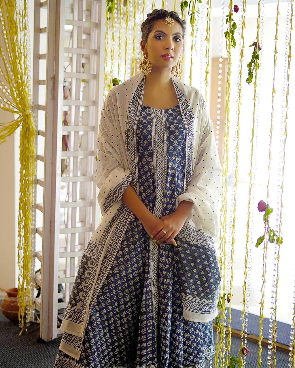 Indian Blue Handblock Suit Set