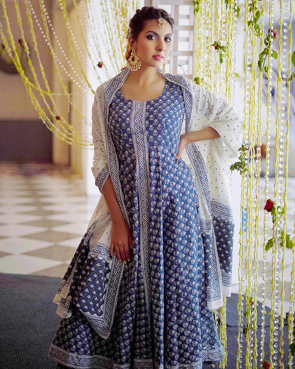 Indian Blue Hand Block Printed Suits Online