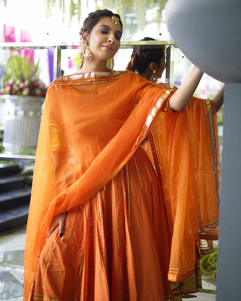 Buy Golden Orange Anarkali Gota Patti Suits Set Online