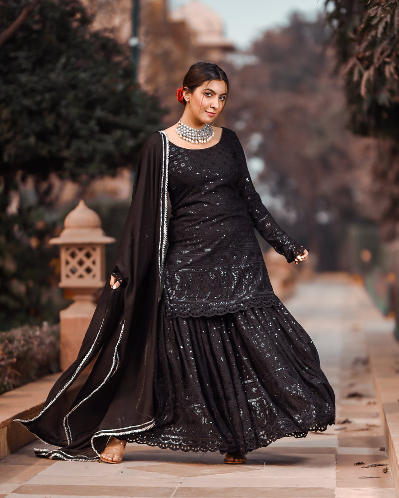 Raven Black Chikankari Sharara Set
