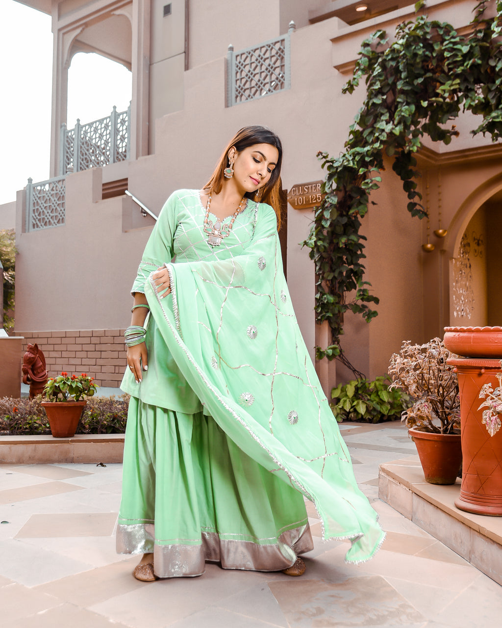 Neo Mint Gotapatti Sharara Set
