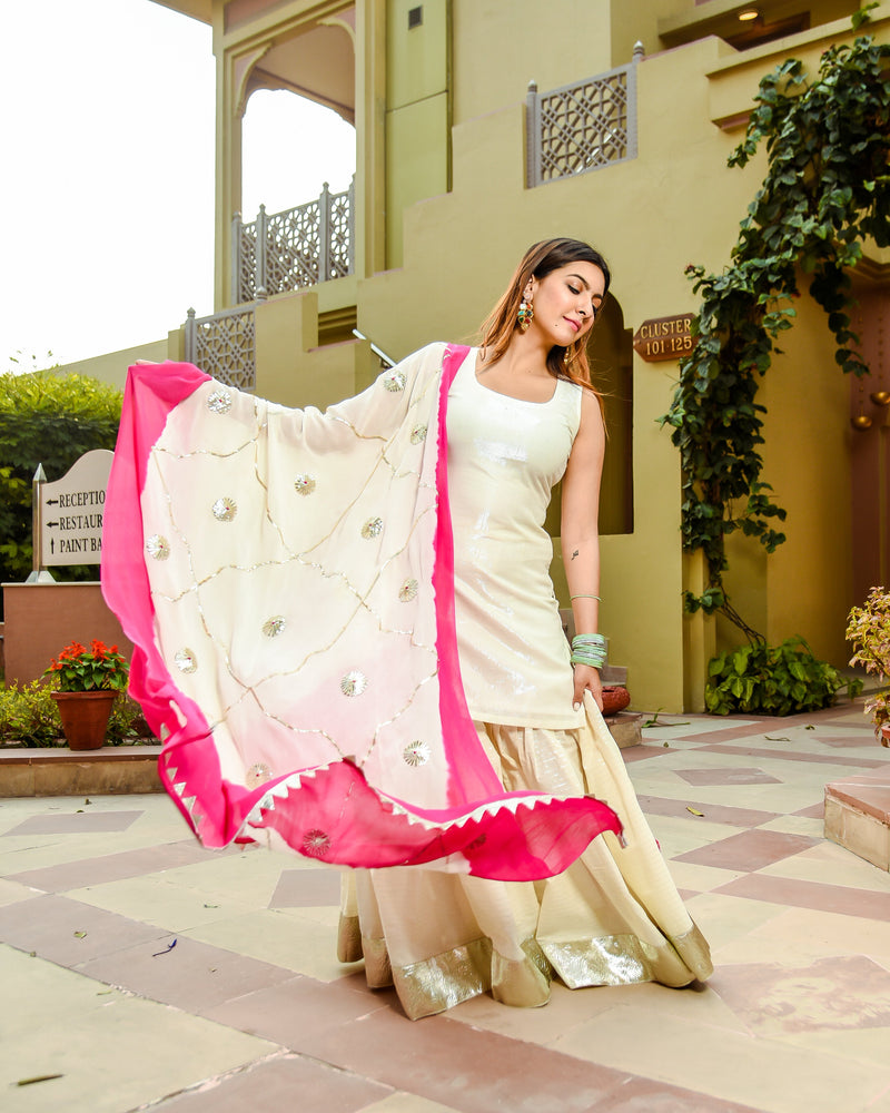 French Rose Gotapatti Sharara Set