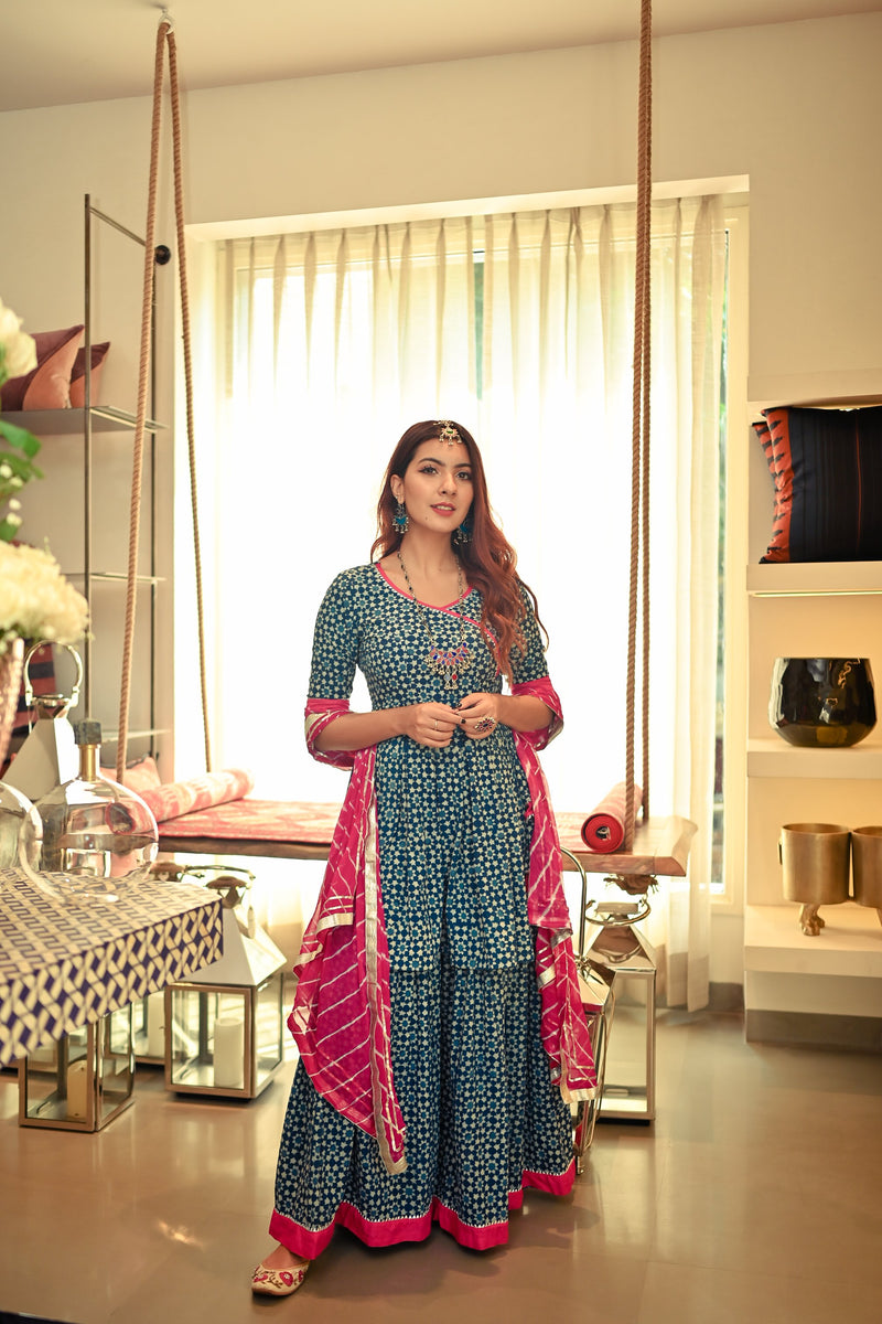 Indigo Blue Angrakha Sharara Set
