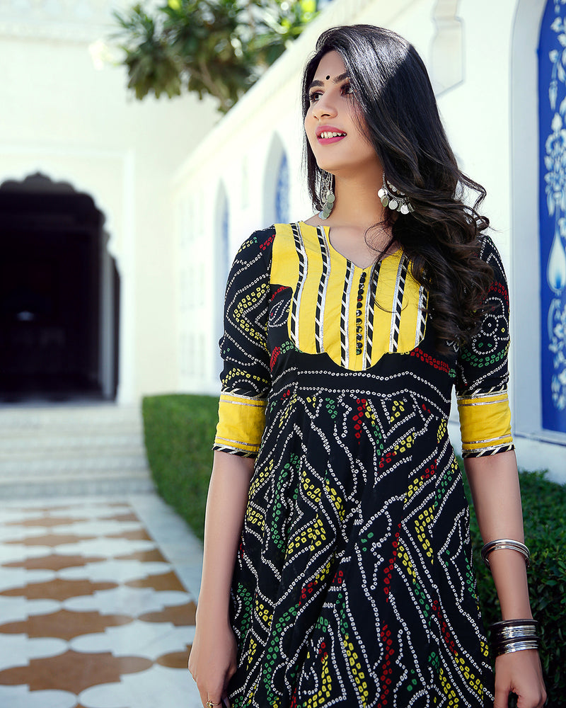 Black & Yellow Bandhani Gotta Anarkali Set