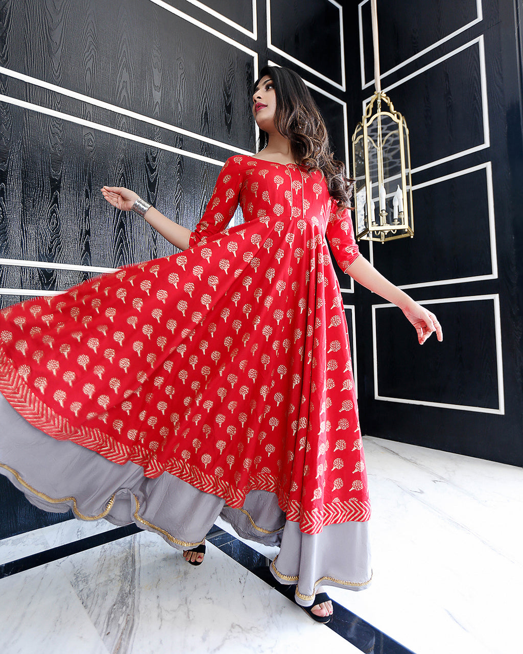 Red Tiara Handblock Cotton Dresses Online
