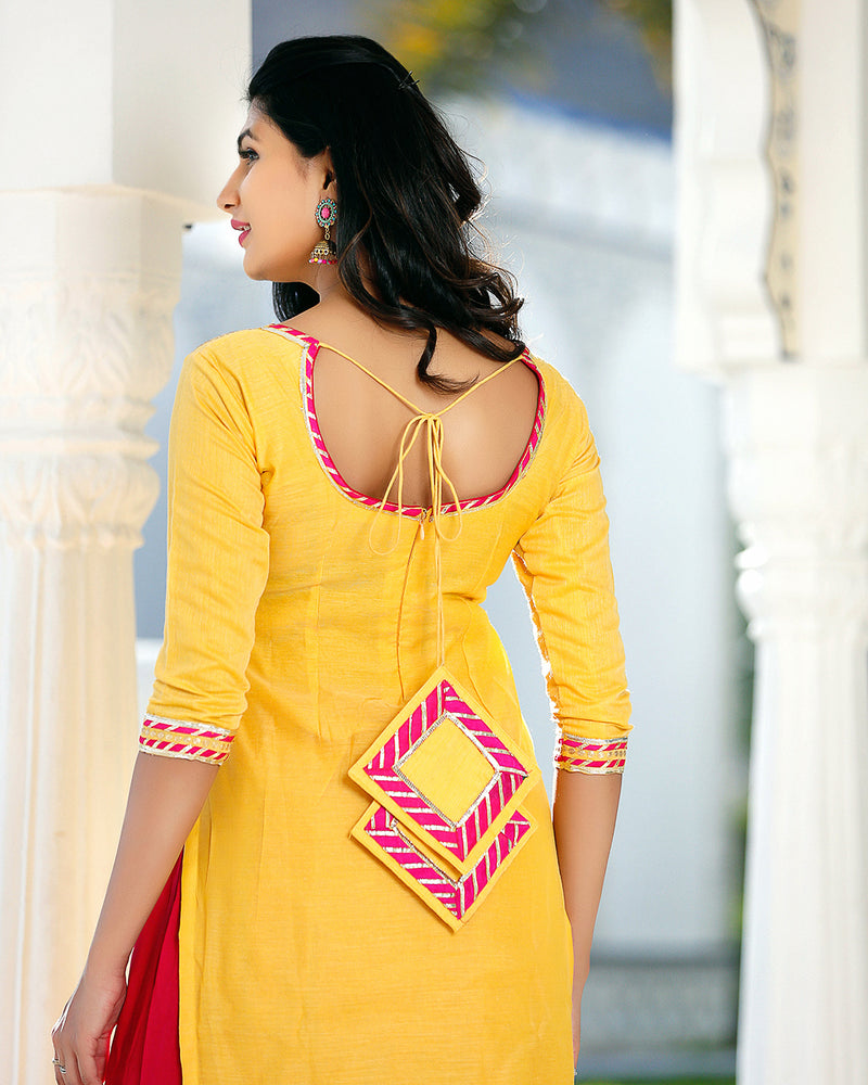 Yellow Pink Kurta Set