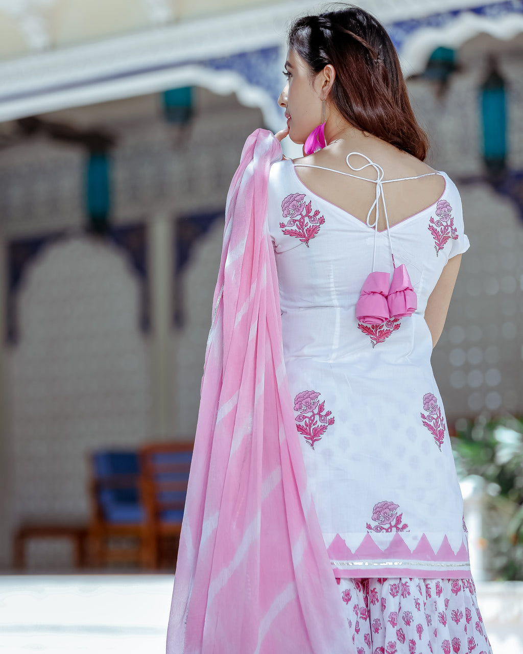 Pink Delight Handblock Sharara Set