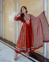 Red Shimmer Gotapatti Anarkali Set