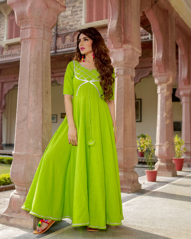 Aachho - Green Patola Gota Dress - 4