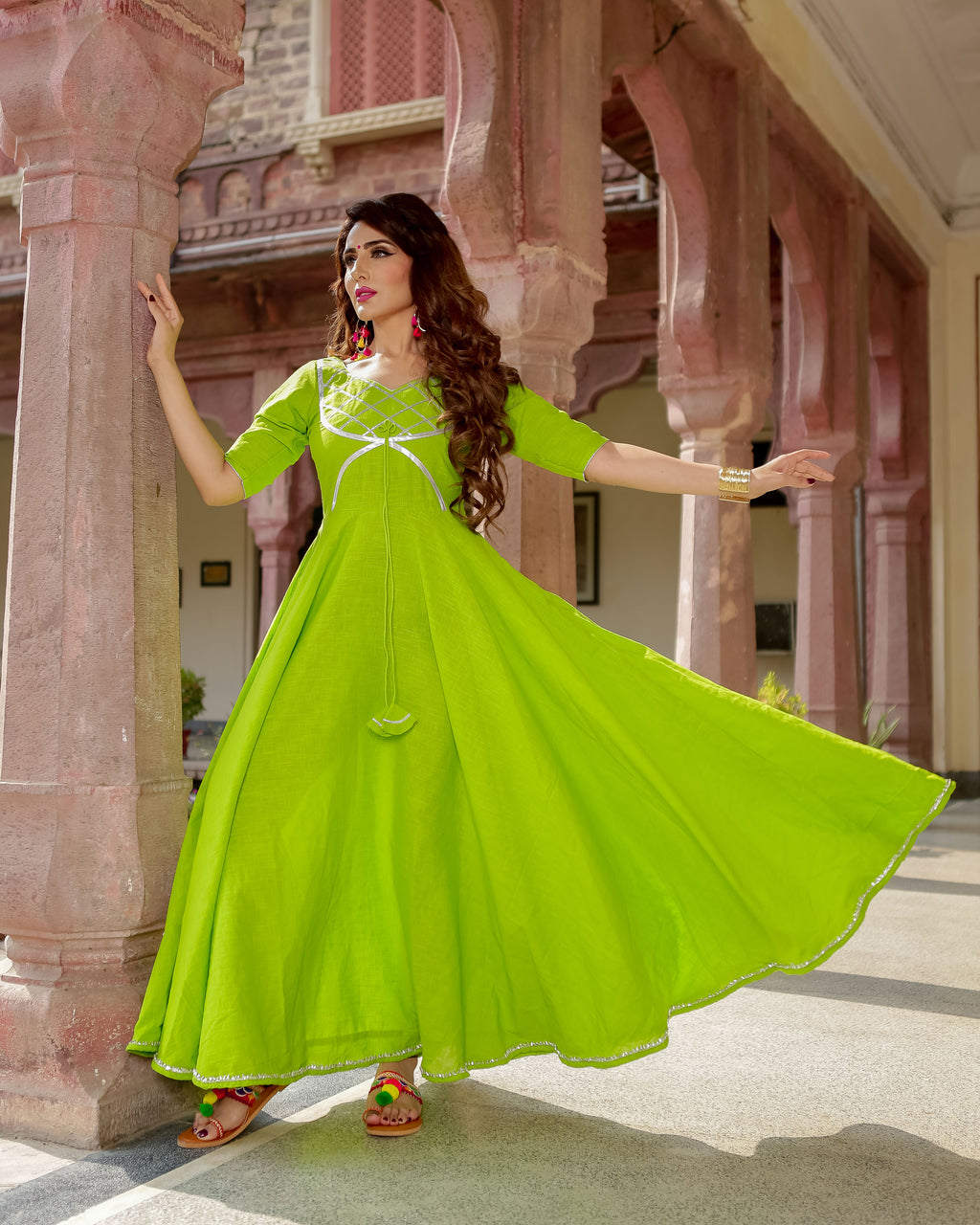 Green Patola Gota Cotton Dresses Online
