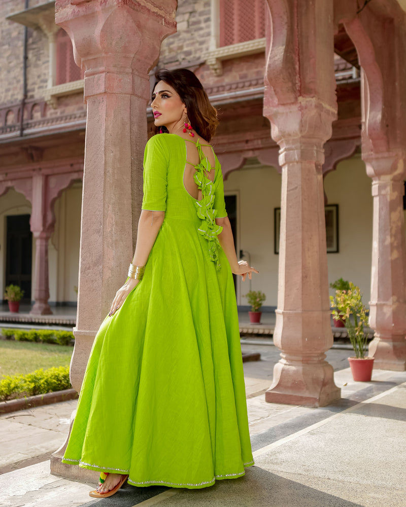 Aachho - Green Patola Gota Dress - 2