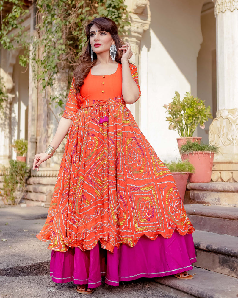 Aachho - Umrao Bandhej Flared Dress - 8
