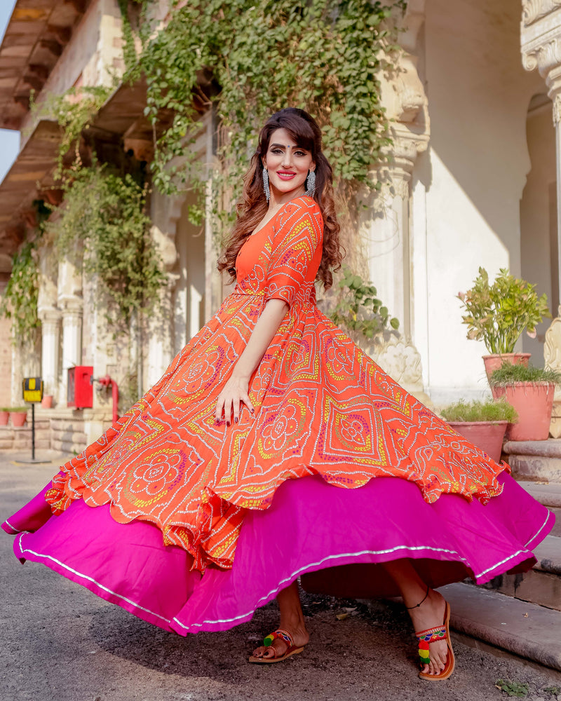 Aachho - Umrao Bandhej Flared Dress - 5