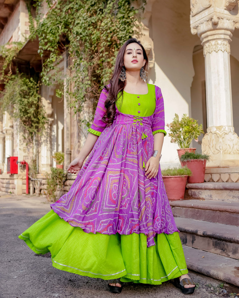 Aachho - Pattakhaguddi Bandhej Flared Dress - 4