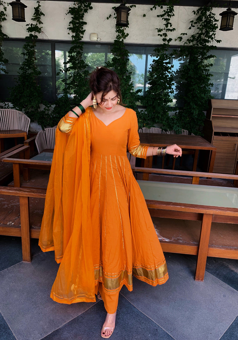 Golden Orange Gotapatti Anarkali Set