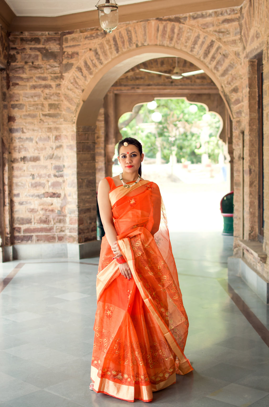 Aachho-Saree-Orange Gold Patti Hand Block Zari Doriya Saree