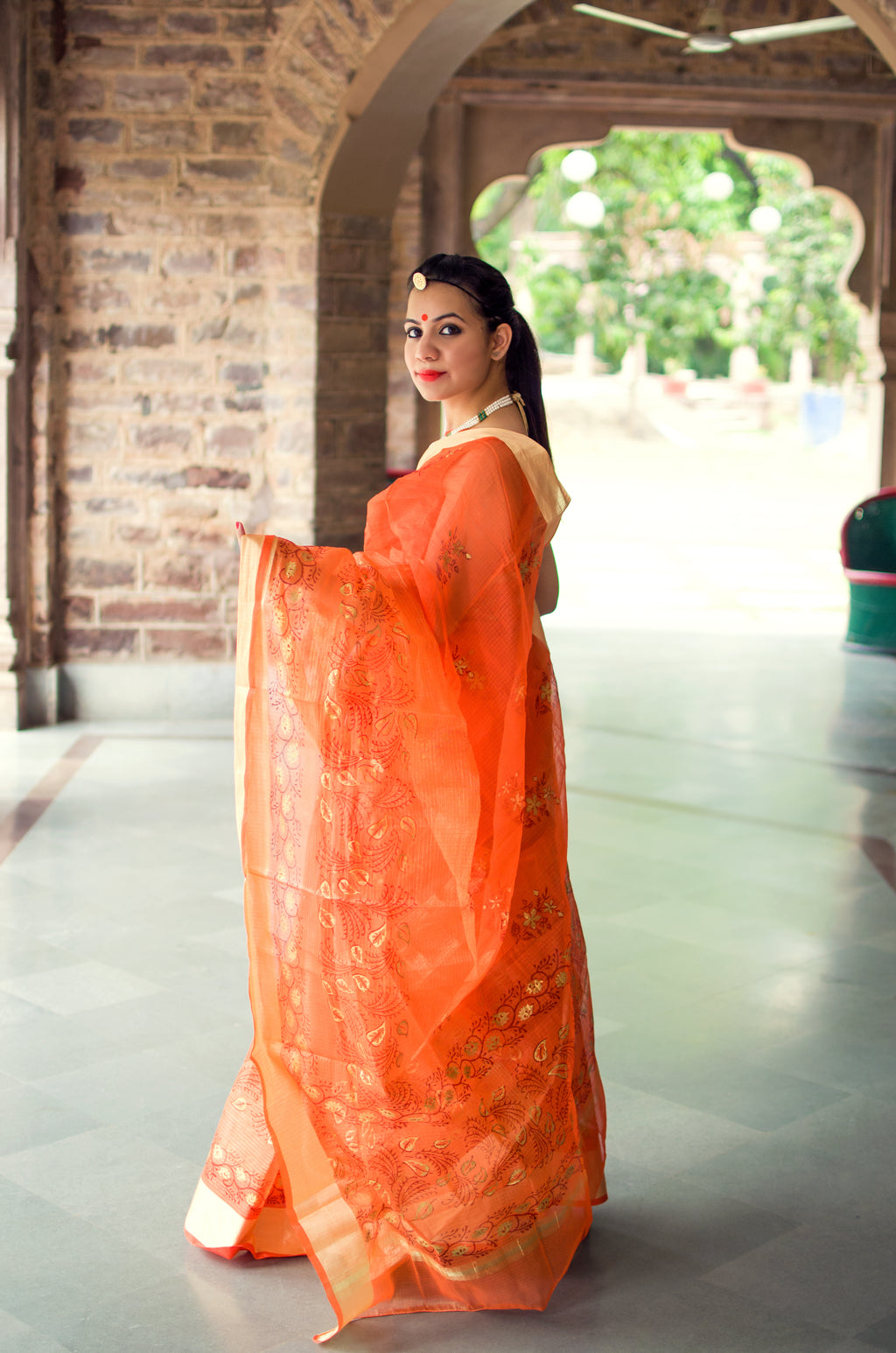 Aachho-Saree-Orange Gold Patti Hand Block Zari Doriya Saree-2