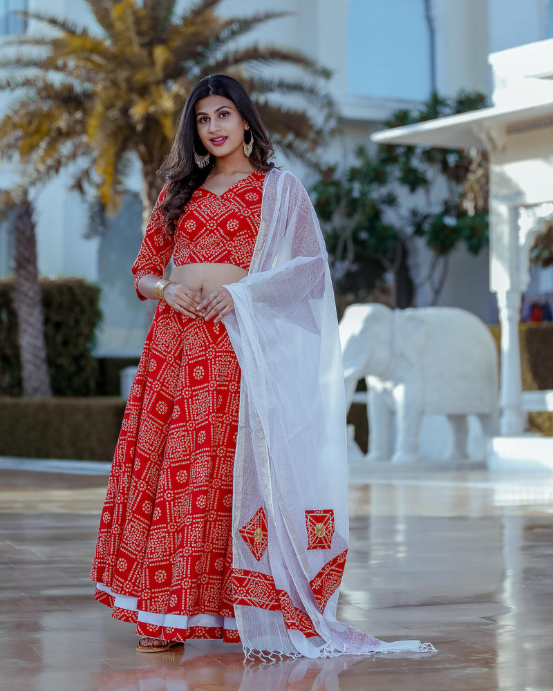 Red Bandhani Lehenga Set