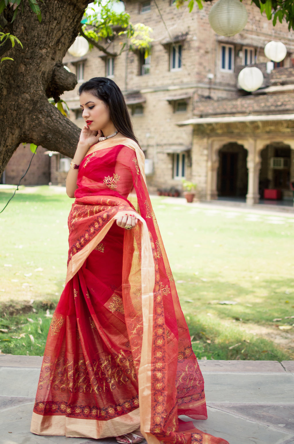 Aachho-Saree-Red Golden Hand Block Zari Doriya Saree