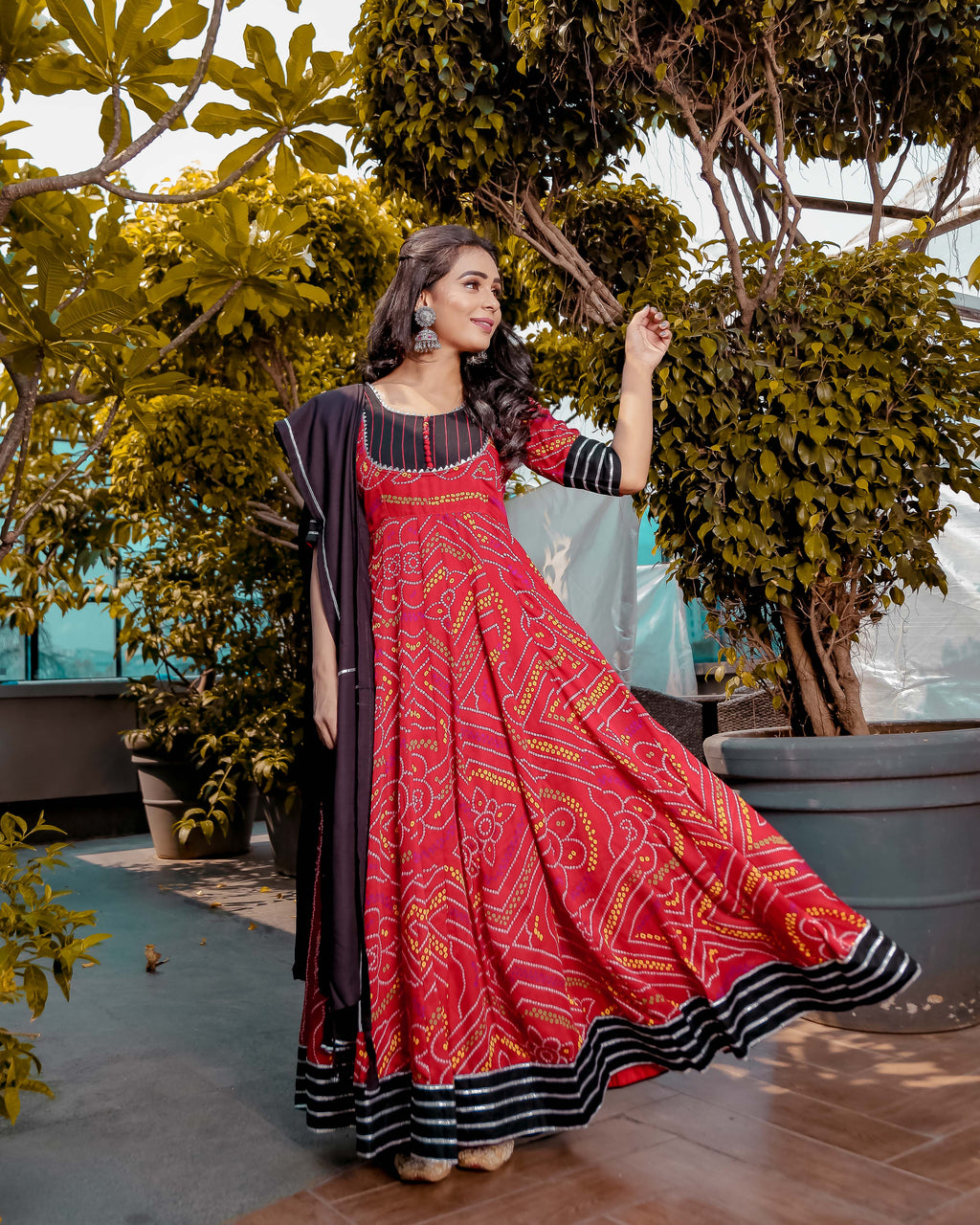 Red & Black Bandhej Anarkali with Black Gota Jaal Dupatta