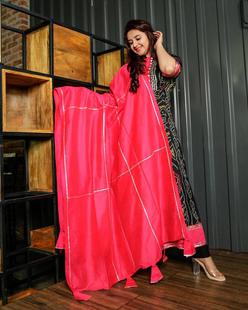Royal Black Bandhej Anarkali with Pink Gota Jaal Dupatta