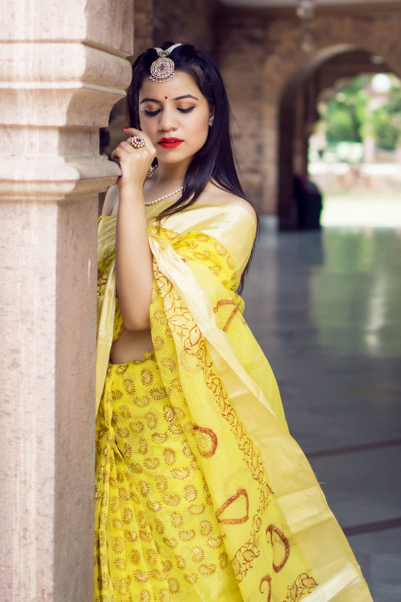 Aachho-Saree-Yellow Kairi Hand Block Zari Doriya Saree-1