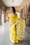 Aachho-Saree-Yellow Kairi Hand Block Zari Doriya Saree