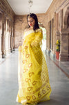 Aachho-Saree-Yellow Kairi Hand Block Zari Doriya Saree-2