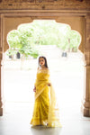Aachho-Saree-Yellow Kairi Hand Block Zari Doriya Saree-6