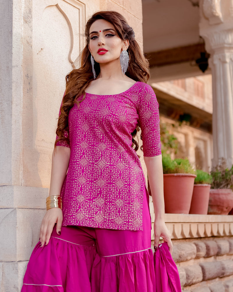 Purple Diva Handblock Sharara Set