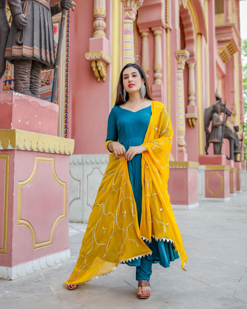 Berry Yellow Gotapatti Suit Set