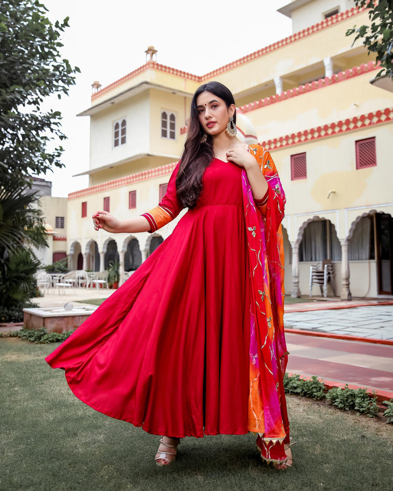Graceful Maroon Gotapatti Anarkali Set