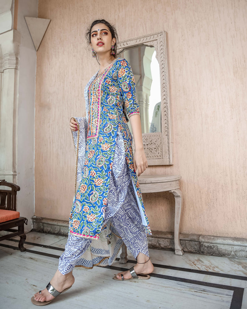 Buy Gota Patti Suits Set Online in Blue Color