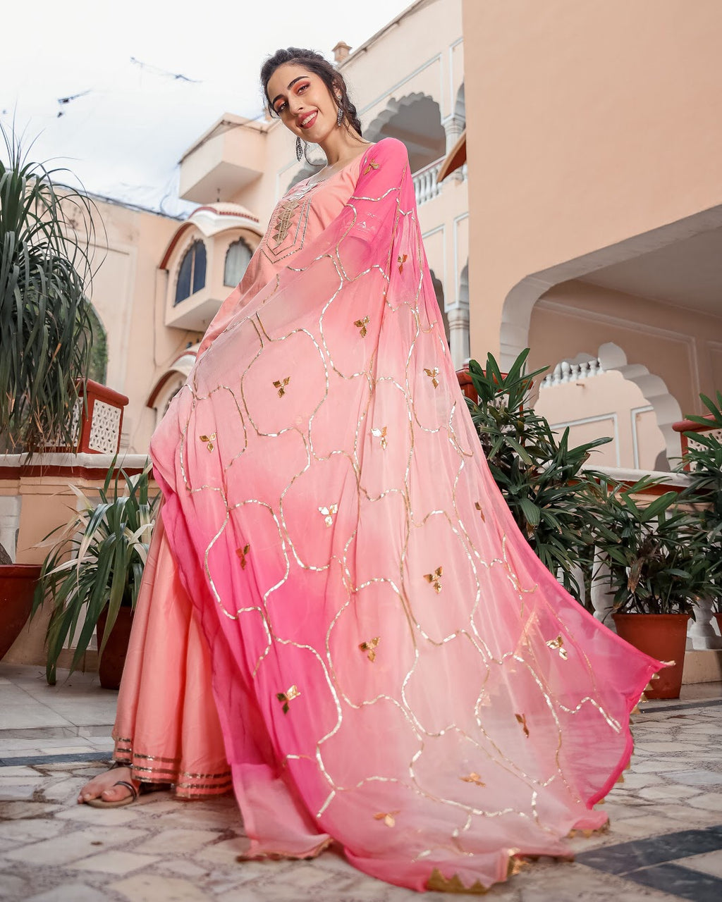 Pastel Peach Gotapatti Sharara set