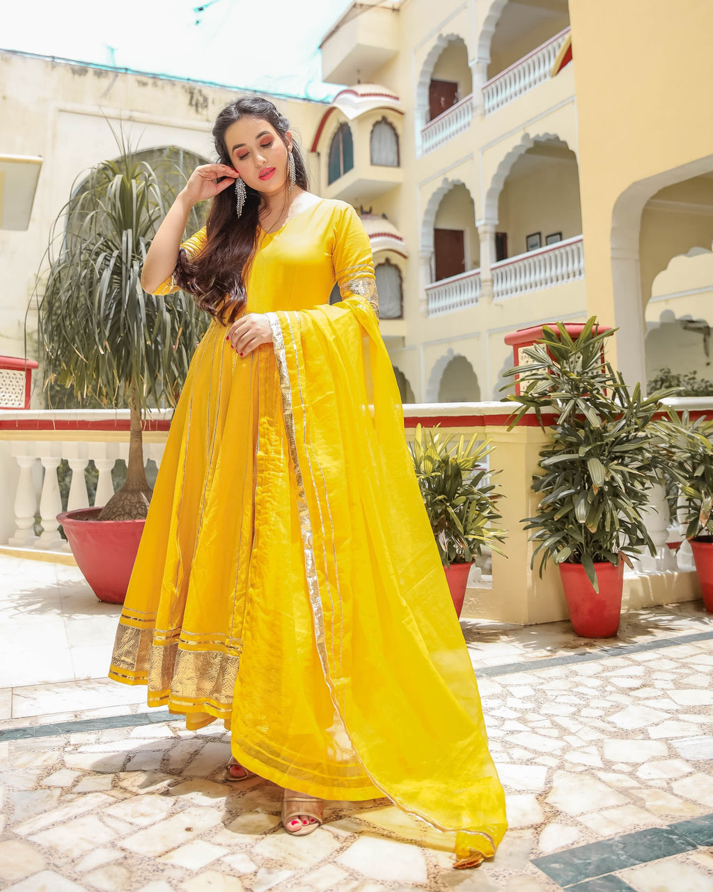 Golden Yellow Gotapatti Anarkali Set