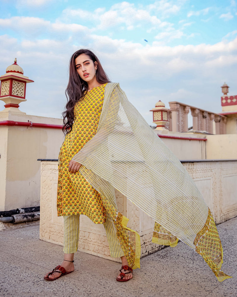 Lemon Floral Handblock Cotton Suit