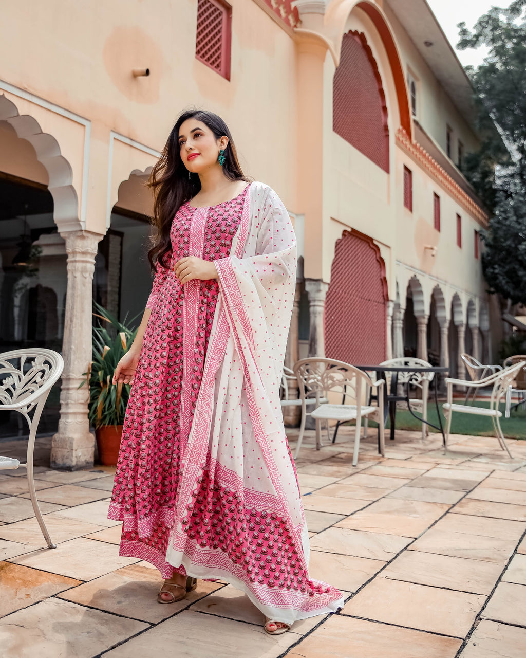 Indian Pink Hand Block Printed Suits Online
