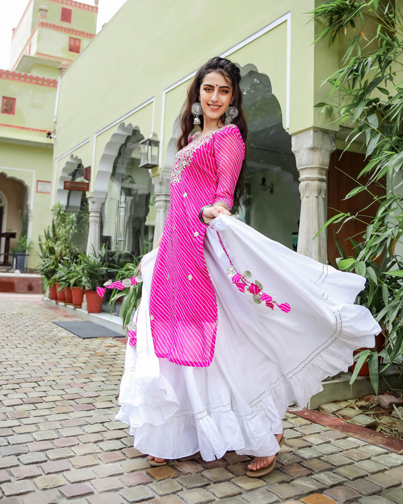 Pink Leheriya Ghaghra Kurta Set Online for Women