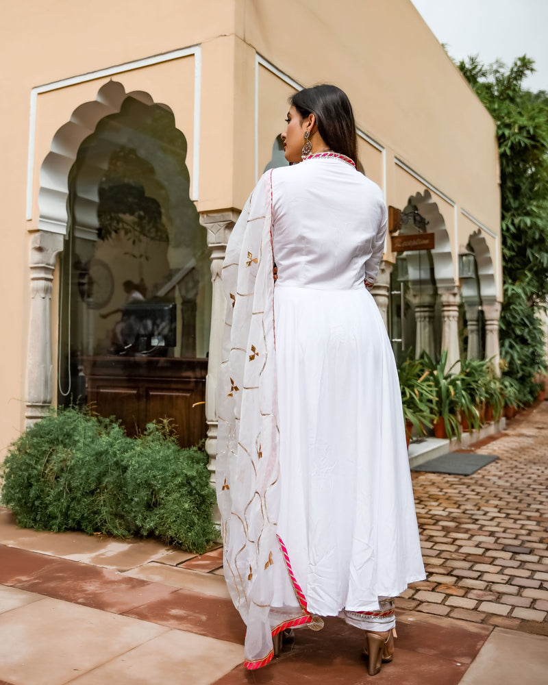 Royal White Gotapatti Suit set